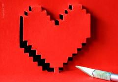 ...Popping out... (cegefoto (temporarily less active)) Tags: macromondays heart hart popupcard popupkaart crafts papier paper rood red schaduw shadow hobbymes hobbyknife macro tamron 90mm