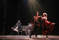 "(L to R) Bob Amaral, Will Taylor and Kristen J. Smith as Teyve, Fyedka and Chava in the Music Circus production of ""Fiddler on the Roof"" at the Wells Fargo Pavilion Aug 14-19. Photo by Charr Crail."