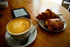 Breakfast in No.4, Southampton (razvan_ilin) Tags: uk england breakfast table reading cafe nikon europe southampton latte pastries croisant kindle d3200