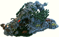 LOM: Awakening (2) (Halhi141) Tags: mountain castle rock dark landscape dragon lego medieval creature rockscape lom moc earthdragon rainos landsofmythron