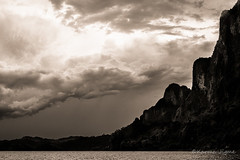 The elements (karmajigme) Tags: blackandwhite mountain lake water monochrome clouds landscape nikon noiretblanc ratchaprapalake