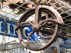 Houston Iron Wheel (Jae at Wits End) Tags: wheel metal circle rust industrial texas mechanical machine houston round ironwork curve circular