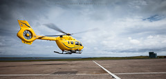 New Scottish Ambulance Service helicopter (Premysl Fojtu) Tags: new rescue yellow island scotland flying airport orkney outdoor aircraft aviation north july medical helicopter takeoff kirkwall mainland eurocopter 2015 scottishambulanceservice ec145t2 airbushelicopters gsasn