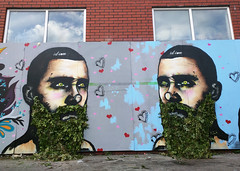 The Greenbeard Effect (id-iom @ UPfest 2015) (id-iom) Tags: streetart man green wall bristol beard graffiti stencil mural paint heart altruism urbanart stare sexual effect shrubbery grenery 2015 greenbeard upfest vectorseating upfest2015