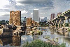 RVA from Manchester (Joey Wharton) Tags: city bridge skyline buildings river manchester outdoors james virginia rocks richmond va rva