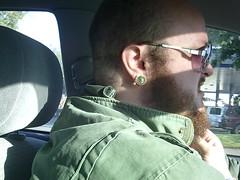 SUNP0034 (weirdokay) Tags: bear beard bearman piercings shavedhead plugs beardy bodymods onourwayhome camtag shavedheadbear