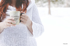 Ho Ho Ho (Stella_Kar) Tags: redhead woman whitesweater snowing snow white winter cold snowyground cupofcoffee whitechristmas