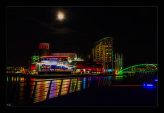 One Night in Manchester (Kevin, from Manchester) Tags: architecture building canal canon1855mm england greatermanchester kevinwalker lancashire longexposure manchester manchestershipcanal marina night northwest salfordquays thewaterside water waterfront waterways