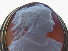 Sardonyx Cameo (gift for a friend) (leaf whispers) Tags: cameo shell brown carved antique old art carving sardonyx agate stone handmade artisan folk brooch pendant necklace pin decorative jewelry victorian classical romantic woman girl female greek mythic myth sculpture backlit backlighting silhouette hair style historical costume dress