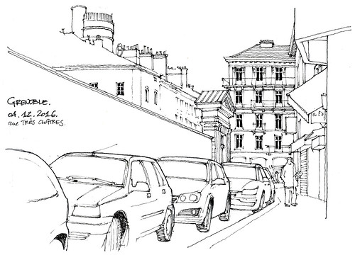 Paysage-paysages (gerard michel) Tags: france isère grenoble rue auto sketch croquis