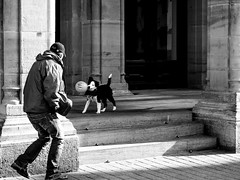 Catch Me If You Can! (SibretManu) Tags: streetphotography luxembourg portrait street black white bw noir et blanc monochrome candid going moments decisive moment creative commons flickr flickriver explore eyed eye scene strassenfotografie fotografie city square squareformat photography bwartaward