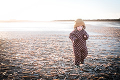 Alice... (Karl Gartland) Tags: flare sand sunset water clams sea x100t girl child backlight seaside fuji beach alice family sun wallasey newbrighton