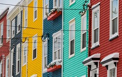 Rowhouses (Karen_Chappell) Tags: rowhouse house houses homes yellow green blue red white jellybeanrow downtown city urban stjohns newfoundland nfld eastcoast avalonpeninsula atlanticcanada canada winter snow windows paint painted wood wooden colourful multicoloured colours colour architecture