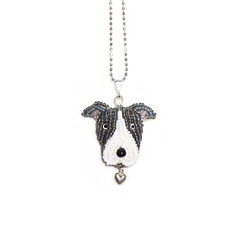 PIT BULL sterling silver necklace, beaded Pitbull Terrier pendant (The Lone Beader) Tags: beads beadwork beadembroidery dogs pitbull etsy amazon handmade jewelry seedbeads beading sterlingsilver valentines gray
