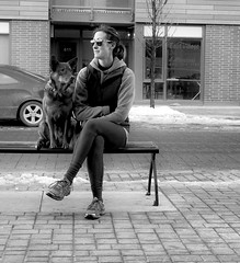 Woman's Best Friend (Sherlock77 (James)) Tags: calgary downtown eastvillage streetphotography people woman dog bench