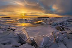 Hummocks on Ladoga. (fedorlashkov) Tags: sunset winter clouds snow ice floes photo tour hummocks karelia ladoga lake