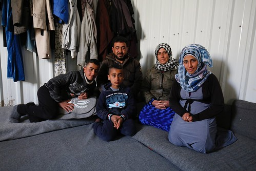 A Syrian refugee family.