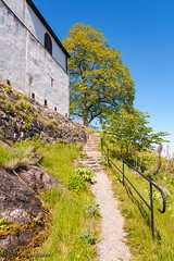 The way up (johanbe) Tags: blue light sky building tree castle stairs path himmel gravel stig trd grus bl ljus slott lck stonestaircase stentrappa