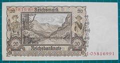 1939-REICHSBANKNOTE-ZWANZIG-REICHSMARK-REVERSE-I05816991-124-D5 (noteworthycollectibles) Tags: germany paper deutschland mark silk imperial currency banknote notgeld seiden pfennig hyperinflation badische reichsbank emergencymoney darlehnskasse