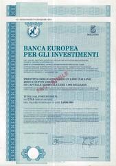 BANCA EUROPEA PER GLI INVESTIMENTI (scripofilia) Tags: 1996 bancaeuropea bancaeuropeapergliinvestimenti investimenti obbligazioni