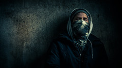 Urban Scarfface (Edgar Myller) Tags: huivi portrait dark hood urban mystical artistic anonymous different light scarf