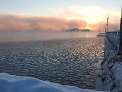 Dawn with deep freeze (KaarinaT) Tags: ice freezing freezingweather sea water fog seafog misty mist sky dawn sunrise helsinki finland beautifullight