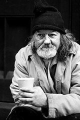 Homeless man (Wilamoyo) Tags: man homeless beggar cup hand cold hat street portrait york helpless poverty bw monochrome