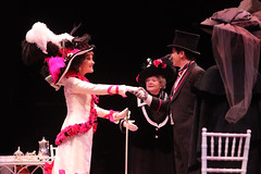 (L to R) Glory Crampton as Eliza Doolittle, Toni Sawyer as Mrs. Higgins and Jason Forbach as Freddy Eynsford-Hill in My Fair Lady, produced by Music Circus at the Wells Fargo Pavilion June 9-14, 2015. Photos by Charr Crail.