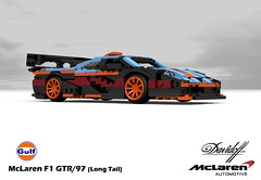 McLaren F1 GTR - 1997 (Long Tail - Davidoff/Gulf) (lego911) Tags: auto uk england english car woking model gulf lego stuck render engine f1 ron mclaren gordon gb bmw 1997 british dennis murray supercar challenge 92 lemans 1990s 90s cad sportscar racer lugnuts gtr povray v12 davidoff moc ldd miniland hypercar lego911 stuckinthe90s