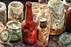 treasures... (s@ssyl@ssy) Tags: vintage bottles crown hdr jars treasures grungy hss sliderssunday buriedunderhay fromthefloorofabarn