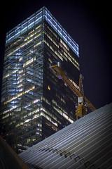7 World Trade Center (wwward0) Tags: nyc windows night construction crane outdoor path manhattan worldtradecenter illuminated financialdistrict cc wtc 7worldtradecenter fidi wwward0