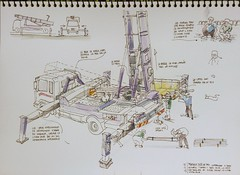 Life between buildings_Working at height, roof repair work (velt.mathieu) Tags: sketch korea croquis corée 한국 constructionvehicle