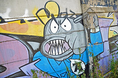 Are you crazy??? (ericbaygon) Tags: street blue urban art graffiti nikon tag dessin bleu rue urbain d300s