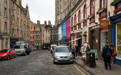 Victoria Street in Edinburgh (IceNineJon) Tags: greatbritain unitedkingdom photography scotland europe canon5dmarkiii edinburgh 5dm3 britain uk victoriastreet city shopping shop shops thewhiskyshop car cars