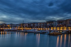 Martha Cove Moorings (gecko47) Tags: landscape canal longexposure lights calm serene bluehour apartments marthacove safetybeach morningtonpeninsula melbourne portphillip architecture water waterfront buildings structures jetties moorings boat boats powerboats yachts marina dock evening dusk reflections blue
