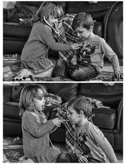 Health check (jayneboo) Tags: 365 twins ben norah bw mono diptych doctor health medicine play playtime fun