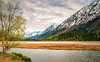 Tern Lake in May - Textured (byron bauer) Tags: byronbauer painterly texture topaz simplify impression spring lake water forest mountains snow hills trees pines clouds sky island grass alaska seward highway reflection perspective cool ripples serene landscape wilderness subarctic