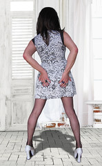 I'll be back for Christmas! (Irene Nyman) Tags: irene nyman dutch crossdresser brunette black white mini dress funky shoes cute backside booty platform pumps bum irenenyman dutchtgirl blueeyes cilf