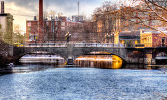 Afternoon sun on the river (macnetdaemon) Tags: architecture bridge nashua river winter snow sunlight buidlings cityscape newengland outside hdr newhampshire