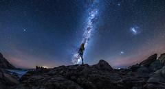 starlight concerto (Ateens Chen) Tags: panorama night landscape sea longexposure starrysky milkyway magellaniccloud nikon d810 figure ateens