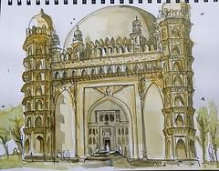 Gol Gumbaz, Bijapur (Mallika_Mohini) Tags: india urbansketching gol gumbaz islamic architecture bijapur deccan sketch watercolor