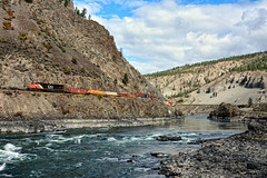 Westbound Train (whosoever2) Tags: canada canadian national es44dc 2242 thompson river gorge britishcolumbia bc train railway railroad nikon d7100 september 2016