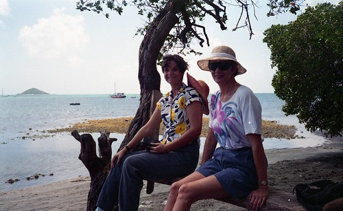 Deb and Kaye take a breal on the North shore of Carriacou.