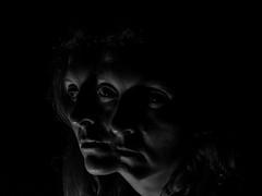 23 haunt (emifly) Tags: portrait blackandwhite bw selfportrait darkness duo memories multiple lowkey haunt selfie