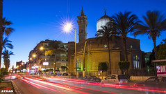 Lotfy Shabara Mosque I    (Ayman Abu Elhussin) Tags: street new old travel wallpaper art history cars tourism architecture night speed photography lights town ray cityscape photographer god prayer egypt bluesky mosque special palmtrees portsaid  alla ayman       masjed 2015          23july          lotfy       aymanabuelhussin 23 lotfyshabara