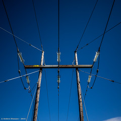 e-m1 15#132 (Red Brick 59) Tags: wood blue sky color steel wires pylons ohl glassinsulators 145kv olympusomdem1 olympus1240mmf28mft