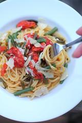 Roasted Garlic Scape and Tomato Pasta (Adventuress Heart) Tags: pasta recipes roastedtomato easypasta garlicscapepasta garlicscaperecipes easygarlicscaperecipes fastpastarecipes summerpastarecipes garlicscaperecipe