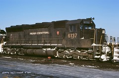 PC 6137 SD45 Croxton,NJ 2-10-1977 (jackdk) Tags: railroad train pc pennsylvania railway locomotive keystone erie cr prr conrail roster sd45 emd pennsylvaniarailroad pennsy erielackawanna penncentral croxton emdsd45 locomotiveroster