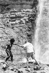 A Helping Hand (picmeups) Tags: leica people blackandwhite bw white black film nature water monochrome analog 50mm waterfall outdoor 11 d76 f2 ilford panf 50asa summitar iiif dslrscanned