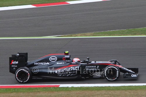 Jenson Button in Free Practice 3 for the 2015 British Grand Prix at Silverstone